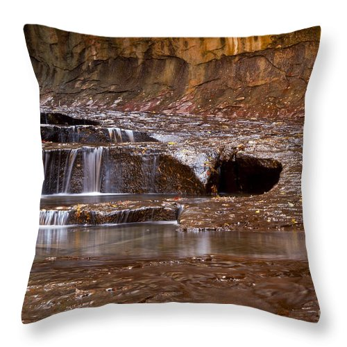 Zion National Park Utah Parks Water Fall Falls Cascade Cascades Stream Streams Pool Pools North Creek Creeks Subway Trail Trails Landscape Landscapes Rock Rocks Throw Pillow featuring the photograph Layers Of Falls by Bob Phillips
