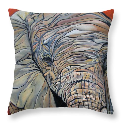 Elephant Throw Pillow featuring the painting Lazy Boy by Aimee Vance