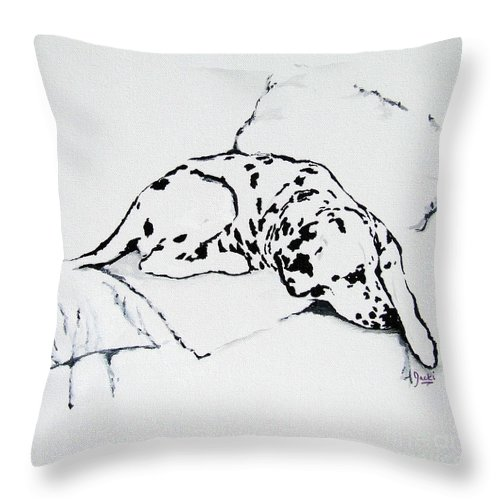 Dogs Throw Pillow featuring the painting Lazy Day by Jacki McGovern