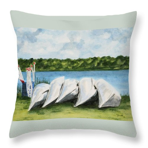 Canoes Throw Pillow featuring the painting Lazy River by Regan J Smith
