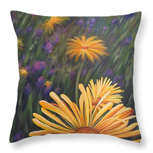 Wildflowers Throw Pillow featuring the painting Lazy Sunday by Hunter Jay