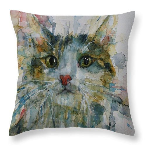 Cat Throw Pillow featuring the painting Le Chat by Paul Lovering