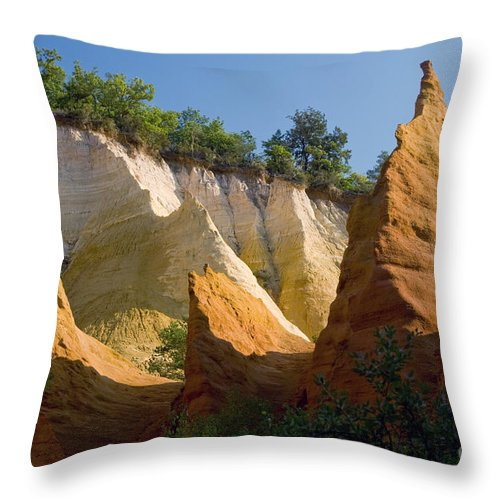 Le Colorado Ochre Rustrel France Colored Clay Landscape Landscapes Tree Trees Plant Plants Light Shadow Shadows Provence Throw Pillow featuring the photograph le Colorado Ochre by Bob Phillips