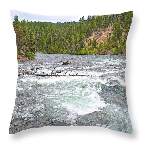 Le Hardy Rapids In Yellowstone National Park Throw Pillow featuring the photograph Le Hardy Rapids In Yellowstone River In Yellowstone National Park-wyoming  by Ruth Hager
