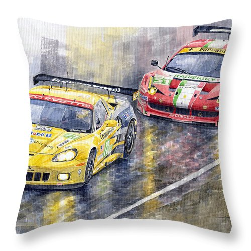 Watercolor Throw Pillow featuring the painting 2011 Le Mans GTE Pro Chevrolette Corvette C6R vs Ferrari 458 Italia by Yuriy Shevchuk