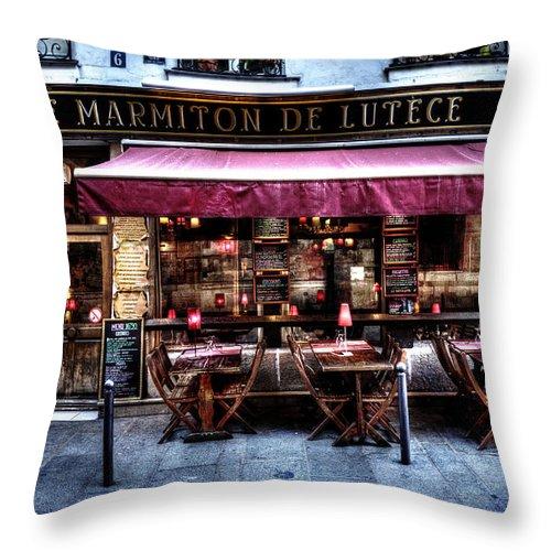 Evie Throw Pillow featuring the photograph Le Marmiton De Lutece Paris France by Evie Carrier