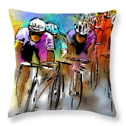 Sports Throw Pillow featuring the painting Le Tour De France 03 by Miki De Goodaboom
