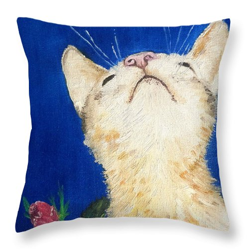 Cats Throw Pillow featuring the painting Lea And The Bee by Reina Resto