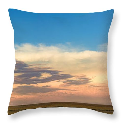 Thunderstorms Throw Pillow featuring the photograph Leading Edge Storm Front And Moon Panorama by James BO Insogna
