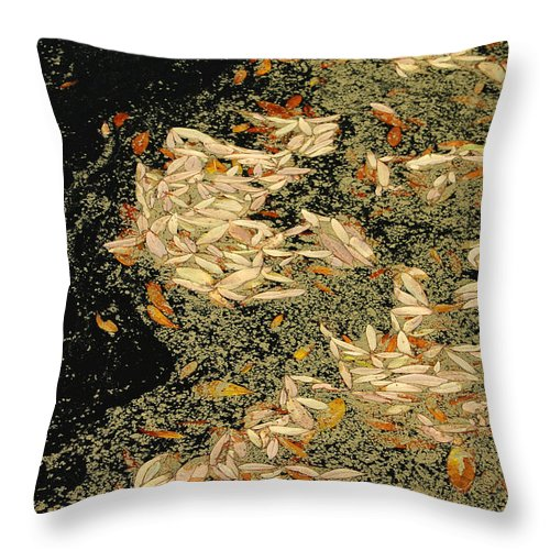 Klimt Throw Pillow featuring the photograph Leaf Abstract Ode to Klimt by Suzanne Gaff