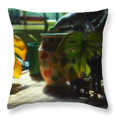 Safari Throw Pillow featuring the painting Leaf Green by Charles Stuart
