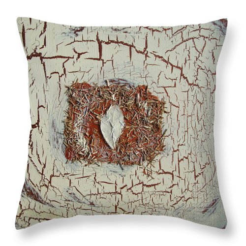 Lemon Grass Throw Pillow featuring the painting Leaf In Winter by Holly Picano