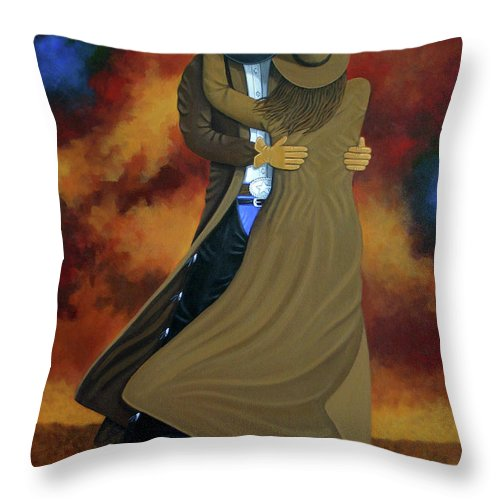 Abstract Cowboy Painting Throw Pillow featuring the painting Lean On Me by Lance Headlee