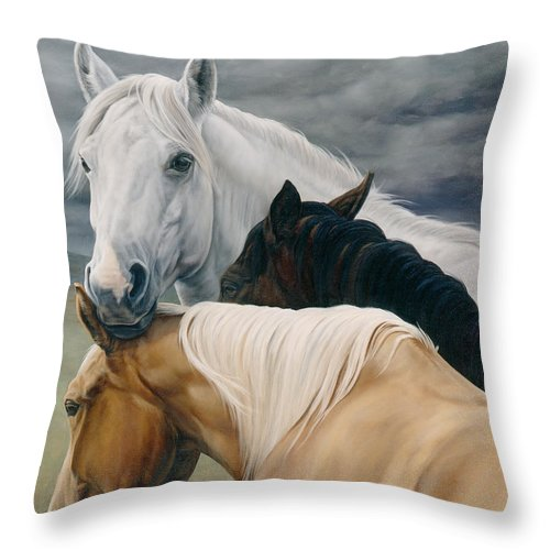 Michelle Grant Throw Pillow featuring the painting Lean On Me by JQ Licensing