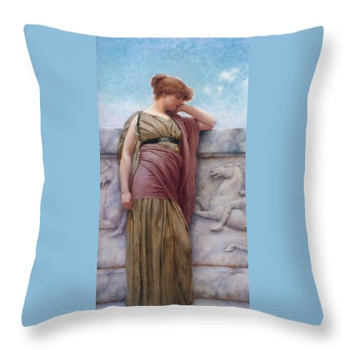 Leaning On The Balcony Throw Pillow featuring the digital art Leaning On The Balcony by John William Godward