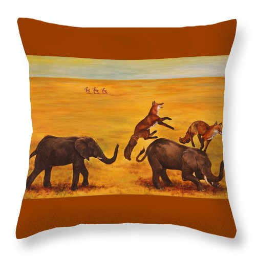 Fox Throw Pillow featuring the painting Leap Frog by Michelle Miron-Rebbe