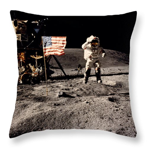 1 Person Throw Pillow featuring the photograph Leaping Lunar Flag Salute by Underwood Archives