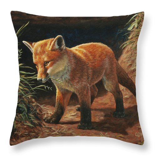 Fox Throw Pillow featuring the painting Red Fox Pup - Learning by Crista Forest