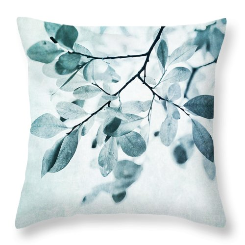 Foliage Throw Pillow featuring the photograph Leaves In Dusty Blue by Priska Wettstein