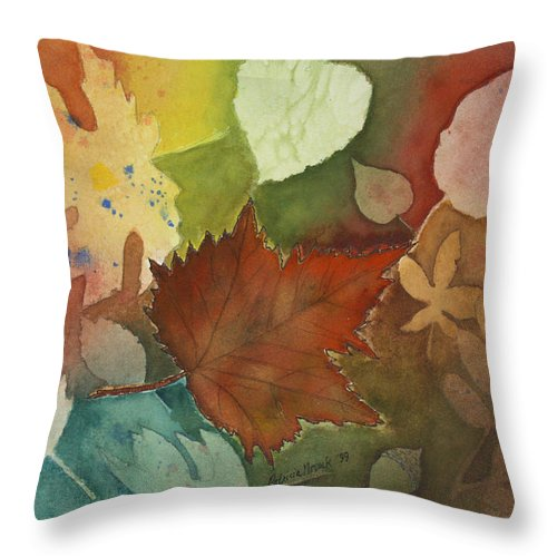 Leaves Throw Pillow featuring the painting Leaves Vl by Patricia Novack