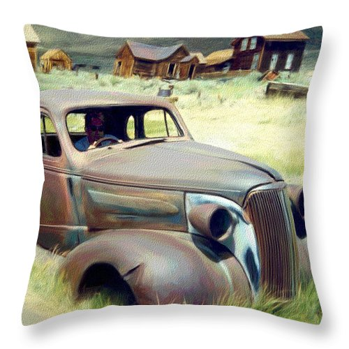Photography Throw Pillow featuring the digital art Leaving Bodie by Snake Jagger