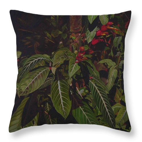 Leaves Throw Pillow featuring the painting Leaving Monroe by Thu Nguyen