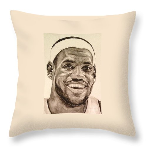 Lebron James Throw Pillow featuring the painting Lebron James by Tamir Barkan