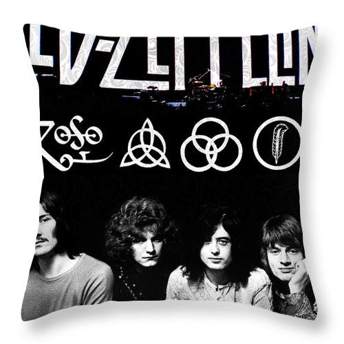 Led Throw Pillow featuring the digital art Led Zeppelin by FHT Designs