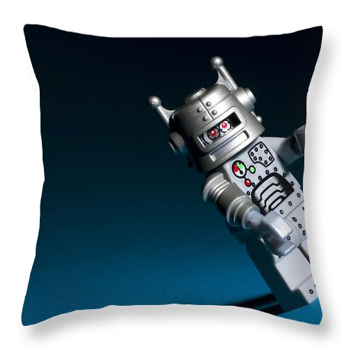 Lego Throw Pillow featuring the photograph Lego Robot by Samuel Whitton
