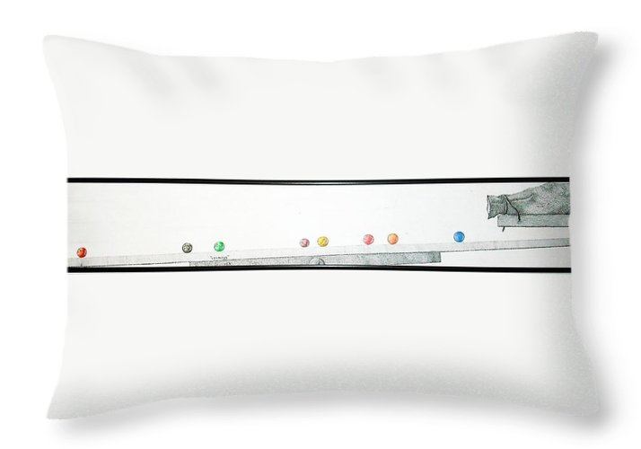 Marbles Throw Pillow featuring the drawing Lemmings by A Robert Malcom