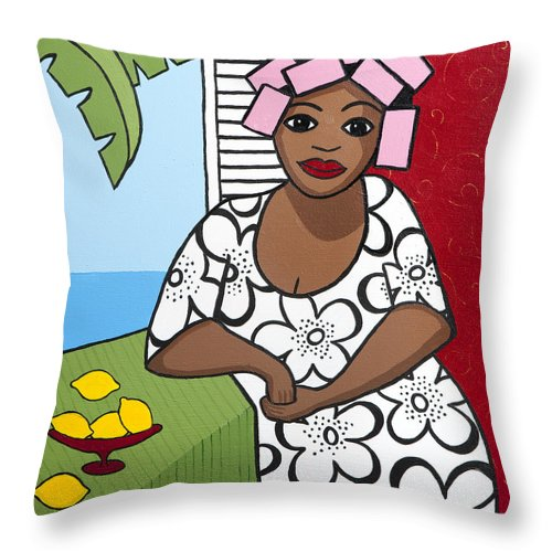 Interior Throw Pillow featuring the painting Lemons 2 by Trudie Canwood