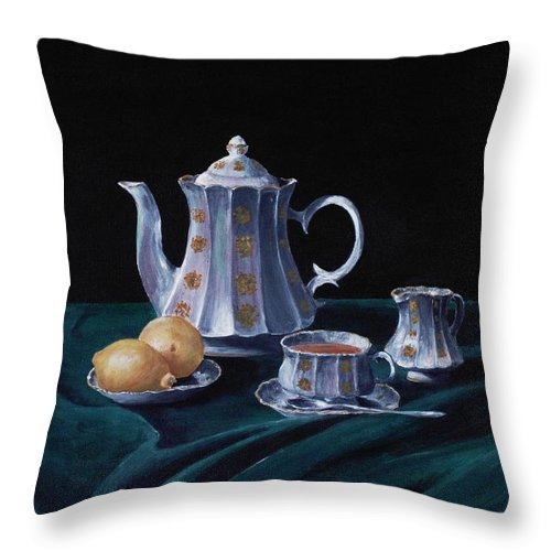 Cup Throw Pillow featuring the painting Lemons And Tea by Anastasiya Malakhova