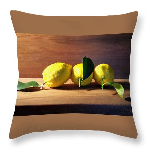 Lemons Throw Pillow featuring the photograph Lemons by Frank Wilson