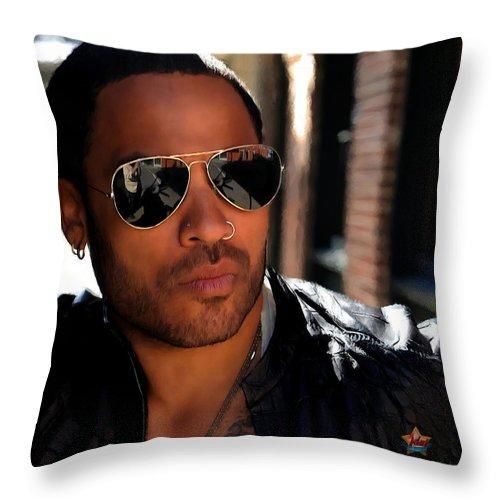 Lenny Kravitz Throw Pillow featuring the digital art Lenny Kravitz by Gabriel T Toro