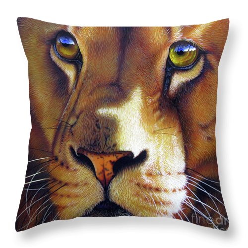 Leo Throw Pillow featuring the painting LEO by Jurek Zamoyski