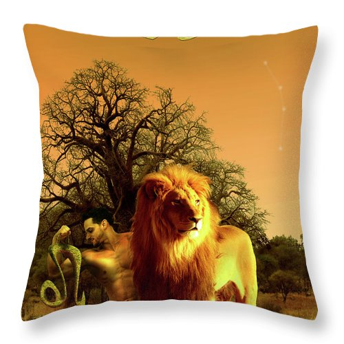 Leo Throw Pillow featuring the digital art Leo by Virginia Palomeque