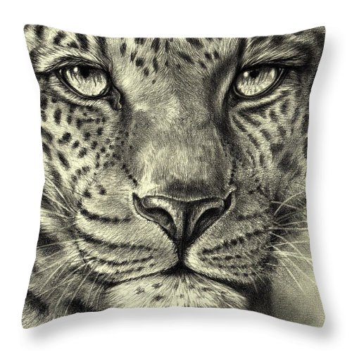 Leopard Throw Pillow featuring the drawing Leopard by Heidi Kriel