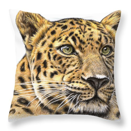Leopard Throw Pillow featuring the drawing Leopard by Nicole Zeug