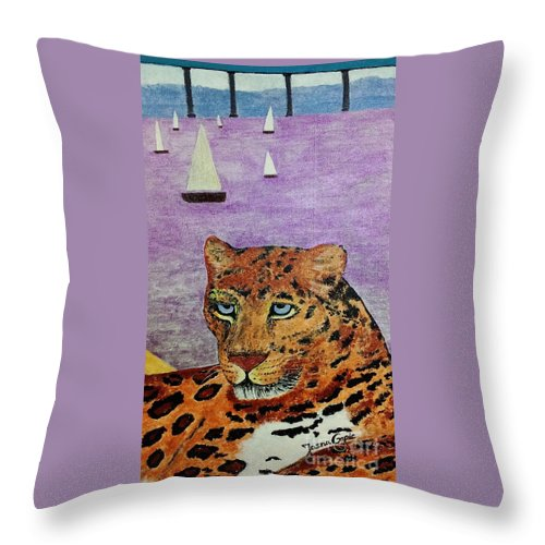 Leopard Paintings Throw Pillow featuring the painting Leopard On The Water by Jasna Gopic