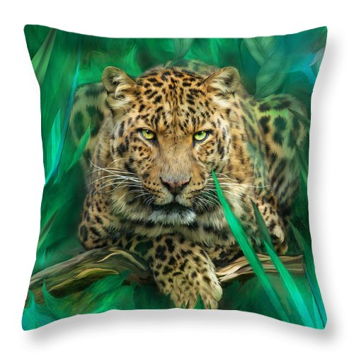 Leopard Throw Pillow featuring the mixed media Leopard - Spirit Of Empowerment by Carol Cavalaris