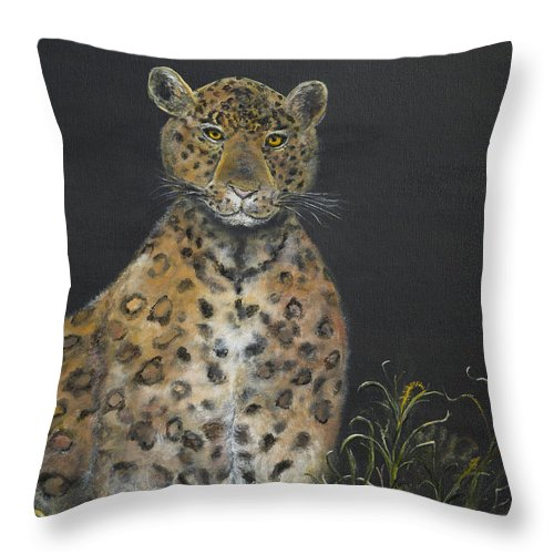 Leopard Painting Throw Pillow featuring the painting Leopard Stare by John Garland Tyson