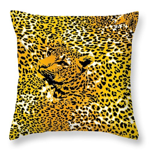 Leopard Throw Pillow featuring the photograph Leopard Texture by DG ART Prints