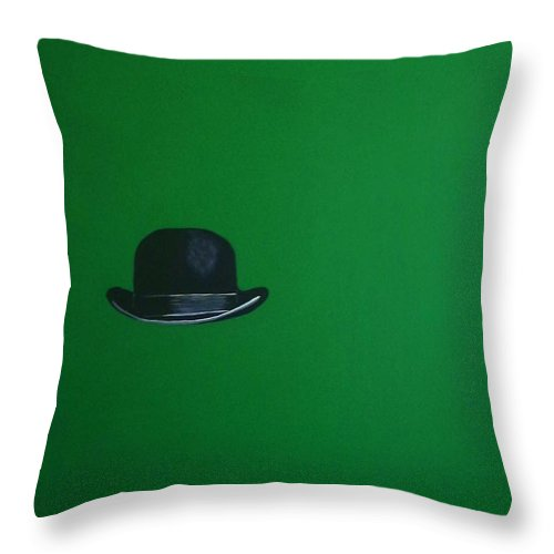 Bowler Hat Throw Pillow featuring the painting Leprechaun Green by Venus