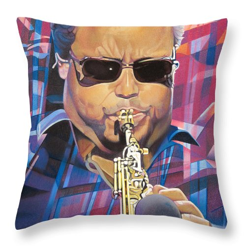 Leroi Moore Throw Pillow featuring the drawing Leroi Moore And 2007 Lights by Joshua Morton