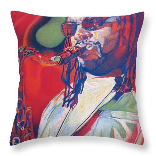 Leroi Moore Throw Pillow featuring the drawing Leroi Moore Colorful Full Band Series by Joshua Morton