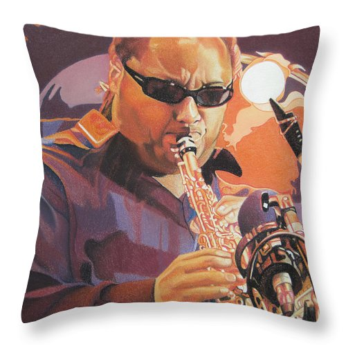 Leroi Moore Throw Pillow featuring the drawing Leroi Moore Purple And Orange by Joshua Morton