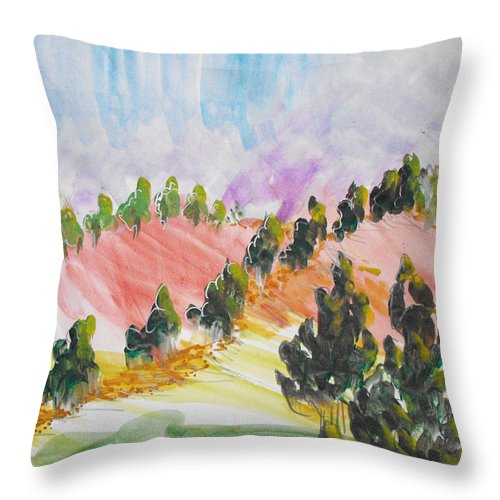 Landscape Throw Pillow featuring the painting Les Chypres by Catherine Sprague