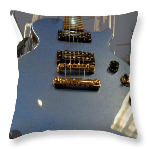 Feature Throw Pillow featuring the photograph Les Paul Gibson by Paulette B Wright
