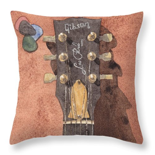 Gibson Throw Pillow featuring the painting Les Paul by Ken Powers