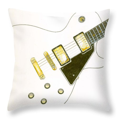 Guitar Throw Pillow featuring the drawing Les Paul by Rick Yost